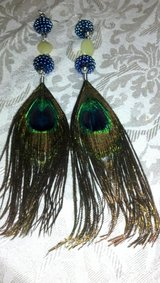 .925 STERLING Long Handcrafted Peacock Feather Earrings in Warner Robins, Georgia